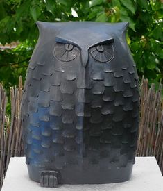 Garden Owl by Margit Hohenberger, a potter from Germany