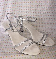 Fabulous Acrylic Shoes Strappy Studded Stones Size 16 Shoes Heels Belle Glass  | eBay