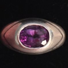 """Vintage RARE 825 Silver Amethyst RARE Vintage RARE 825 Silver Amethyst RARE. Purple Amethyst has been highly esteemed throughout the ages for its stunning beauty. In ancient times it was a """"Gem of Fire,"""" a Precious Stone worth, at times in history, as much as a Diamond. It is the stone of St. Valentine and faithful love. Vintage Antique Jewelry Rings"""