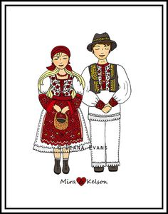 Croatian Folklore Dancers  Custom hair and names....you can customize hair color and names ......