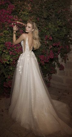 dany mizrachi spring 2018 bridal spaghetti strap deep plunging v neck heavily embellished bodice side open romantic sexy a line wedding dress open v back chapel train bv -- Dany Mizrachi Spring 2018 Wedding Dresses Dresses Elegant, Sexy Wedding Dresses, Cheap Wedding Dress, Wedding Dress Styles, Bridal Dresses, Wedding Gowns, Bridesmaid Dresses, Sexy Dresses, Event Dresses