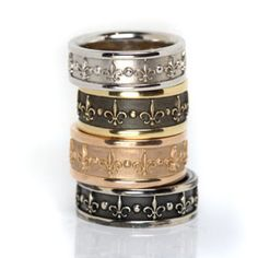 Men's Fleur de Lis Rings from Oliver Smith Jeweler.