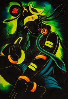 HERMOSA noche SHIVA Psychedelic Arte pintado a mano Uv pintura fluorescente luz negra activa Original telón de fondo