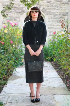 Freddies of Pinewood Vertical Stripe Dress and Dolman Sleeve Cardigan  Vintage Repro Fashion