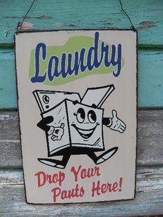 Vintage style retro Laundry Sign