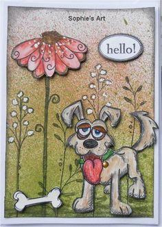 Heute biete ich euch mal wieder einen freundlichen Hund an, der voller Freude und Stolz bei seinem Knochen wacht. Mit Weihnachtskarten bi...