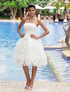 A-line Strapless Sleeveless Knee-length Satin Wedding Dress