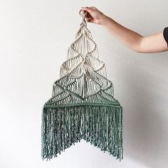 Are you looking for inventive holiday decor? @elizabethmctague has made these playful Xmas tree hangings! She's nearly sold out for the season... #macramecommunity #modernmacrame