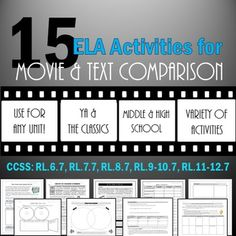 Bundle of 15 activities for comparing books and their movie versions in English class! CCSS aligned for grades 6-12.