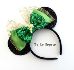 """READY TO SHIP ~ all ears are created and listed for immediate shipping! Off to NEVERLAND in these fun Tinkerbell ears! Perfect for a day in the Disney parks...and FULL of pixie dust!!! Sparkle mesh bow with a gold glitter Tinkerbell complete this set of ears for a FUN, lightweight look. Each headband fits both children and adults. The headbands are NOT oversized and meant to be a lightweight option. Headbands measure approximately 8-9"""" across, 8"""" tall, and 3.5"""" in diameter ears. If you…"""