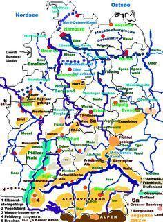 deutschland karte mit städten und flüssen deutsche Flüsse, Berge, Landschaften | Flüsse in deutschland