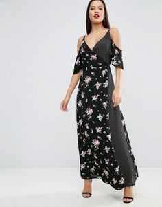 ASOS Wrap Front Maxi Dress with Cold Shoulder in Mixed Print #prom