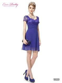 Lace Cap Sleeve Halter Blue Casual Short Cocktail Dress