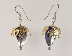 Thai Silver and Gold Filigree Leaf Wirewrapped Artisan Handmade Drop Earrings available from MistyLaneJewelry on Etsy