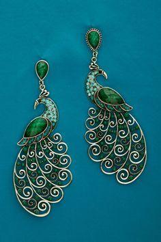 peacock earrings (wow)