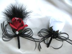 package wedding silk flowers Centerpieces RED BLACK WHITE FEATHERS