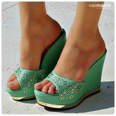 tamanco - verde menta - salto anabela - Ref. 14-14402 - verão 2015