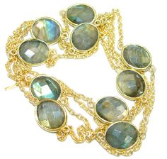 36 inches Genuine Fire Labradorite  Gold over .925  Sterling Silver handmade Necklace – Jewelry