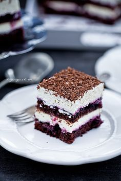 Black current chocolate cake with marscapone whipped cream and cassis liquer