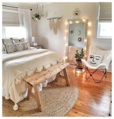 Room Ideas Bedroom, Small Room Bedroom, Modern Bedroom, Bed Room, Master Bedroom, Boho Teen Bedroom, Trendy Bedroom, Cute Teen Bedrooms, Bedroom Inspo