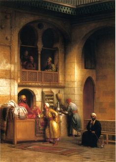 "George Henry Hall ""Rug bazaar, Cairo"""