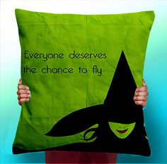 Wizard of OZ Wicked Witch mUSICAL - Cushion / Pillow Cover / Panel / Fabric on Etsy, $8.42