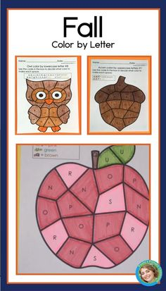 80 pages of fall alphabet practice for preschool and kindergarten - perfect for back to school literacy learning!  With 8 versions each of 10 pictures, you'll easily differentiate for all your students.  These printable NO PREP worksheets even have the color code show in color, to make it super easy for young children to be successful - and the completed pages make a beautiful display! Includes sunflower, apple, acorn, owl, mushroom, corn, bee hive, jelly jar, leaf and scarecrow. Kindergarten Reading Activities, Homeschool Kindergarten, Reading Resources, Alphabet Worksheets, Preschool Worksheets, Preschool Activities, Abc Learning, Literacy Skills, Letter Recognition