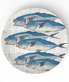 Fish - 6 Fish on a 10 inch Melamine Plate with vintage dictionary page background