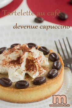 TARTELETTE CAPPUCINO de C. Adam (PATE SUCREE : 125 g de beurre, 85 g de sucre glace, 1 gousse de vanille, 25 g de poudre d'amandes, sel, 1 oeuf, 210 g de farine) (CREMEUX CAFE : 100 g de chocolat au café, 1 œuf, 10 g de sucre, 12,5 cl crème/lait, 1 feuille de gélatine, extrait de café) (CHANTILLY : 20 cl de crème, 1 gousse de vanille, 25 g de sucre) cacao amer en poudre