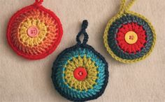 Set of 3 Crochet Christmas Ornaments Colorful door MaxMinnieandMe