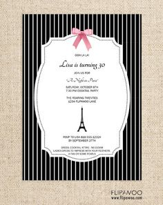 Paris Invitation with Eiffel Tower and Tied Ribbon Design by FLIPAWOO - A Night in Paris Collection - Customized Printable File. $17.00, via Etsy.