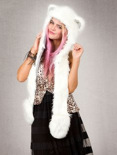 What's Your Spirit Animal? ....... POLAR BEAR (Faux Fur) ............... Traits: Guardian > Caretaker > Strength .Find out more about the #Polar #Bear #Spirit #Animal at: https://www.spirithoods.com/adults/womens/polarbear/707/# $99 #Gifts #Fashion #SpiritHood #SpiritHoods #Women #Hoodie #FauxFur #Paws #Scarf #ProBlue