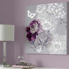 Graham & Brown - Floral Metallic, Canvas Wall Art, 60x60cm