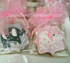 https://flic.kr/p/DBzECu | Pink Polka Dot Elephant Cookie Favors | Baby Shower Cookie Favors, Elephant Cookie Favors, Gray and Pink Elephants