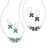 "Alsace Flowers Gift Set - Silvertone with faux stones. Pierced earrings, 1 1/4"" L. Necklace, 16 1/2"" L with 3 1/2"" extender. Regularly $19.99, buy Avon jewelry gift sets  online at www.youravon.com/crystalcavanaugh"