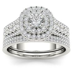 De Couer 10k White Gold 1ct TDW Diamond Double Halo Engagement Ring... (1,685 NZD) ❤ liked on Polyvore featuring jewelry, rings, diamond engagement rings, wide-band diamond rings, wide-band rings, pave band ring and engagement rings