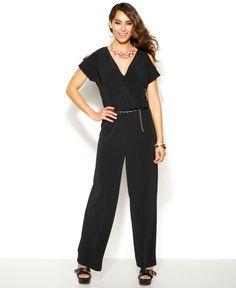 Thalia Sodi Short-Sleeve Belted Jumpsuit