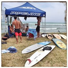 Pipeline surf team member Ikaika Freitas enjoying Saturday surf session and BBQ at the beach with his Oahu crew under the Pipeline tent.  #surf #surfboards #surfing #bbq #bigfin #thecrew #weekend #saturday #blessed #aloha #mahalokeakua #hawaii #thecrew #stoked #waves #sliders #allday #pipeline #surfingwiththeboys #mylife #allwedo