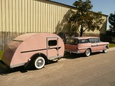 vintage pink travel trailer and station wagon - Aw, to travel in such style!