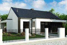 Prezentujemy parterowy dom z dachem 2-spadowym oraz trzema sypialniami zaaranżowane na 100 mkw. Fot. Z500 1 Story House, Pine Forest, Home Fashion, Cozy House, House Plans, Pergola, Garage Doors, Shed, Exterior