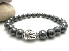 Mens Hematite Buddha Energy Bracelet with Pouch. $14.00, via Etsy.