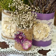 Decorated can centerpiece display  trio  rustic by DreamItCraft, $15.00