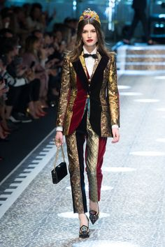 Dolce & Gabbana | Fall 2017 | Two pieces #striped suit - metalized & velvet