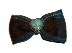 Teal and Brown Heart Bow Plaid Hair bow Turquoise by bowsngifts, $3.00