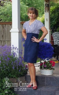 I love blue and white together...so clean, crisp, and nautical!  This latest dress refashion was from a woman's blouse and a man's shirt....