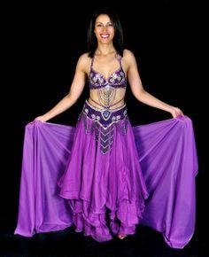 Falda de doble vuelo de danza del vientre