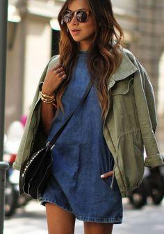 short denim dress and lightweight jacket