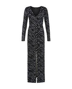 Black Metallic Zebra Print Maxi Dress | New Look