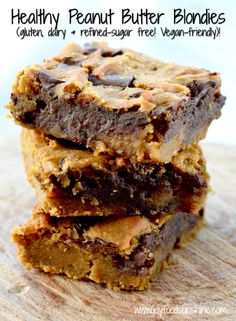 Healthy Peanut Butter Blondie Recipe! Using chickpeas makes these bars a dessert you can feel good about eating! They are gluten-free, dairy-free, refined-sugar free and vegan friendly!