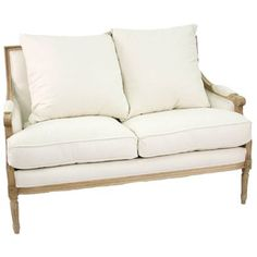 Louis White Cotton & Natural Oak Settee